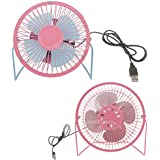 MagiDeal 2Pieces Fan Portable Mini Desktop 4 Desk Table Electric Fans Travel Home Office