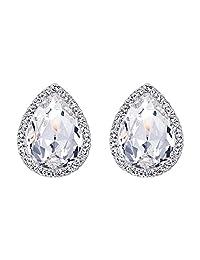 Ever Faith Wedding Teardrop Stud Earrings Austrian Crystal