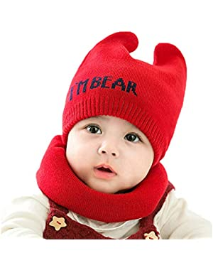 Cute Baby Comfortable Bear Knit Hat and Scarf Set Unisex Infant Toddler 6-24 Months