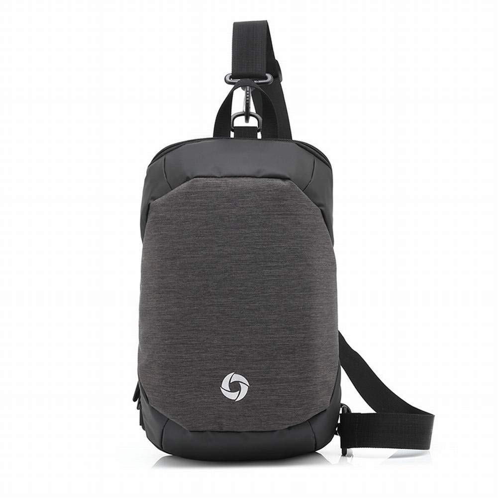 Grey Creative Fashion MultiFunction Male Chest Bag Oxford Cloth Backpack Casual Male Diagonal AntiTheft Bag for Men