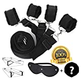 Litech Bed Restraint System Kit Medical Grade Strap Restraints with Soft Furry Comfortable Wrist and Ankle Cuffs