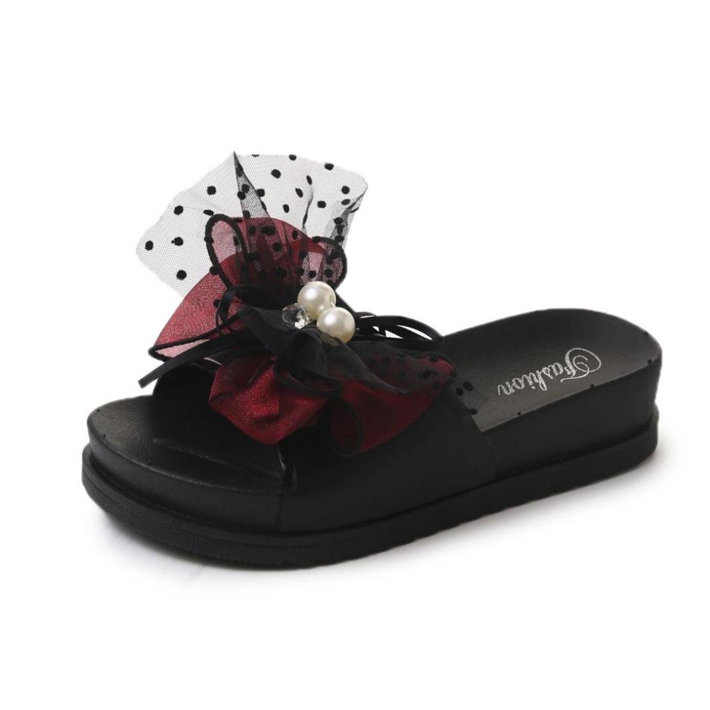 beautyjourney Pantofole Donna estive Elegant Ciabatte Donna estive da casa Mare Sandali Estivi Donna Mare Bassi Elegant Estivi -Sandali Pantofole Donna con Zeppa estive ElegantRosso