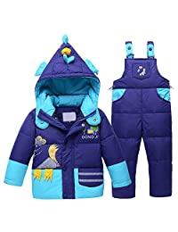 Genda 2Archer Little Boys Girls Winter Chicken Hooded Down Jacket Bib Pants Set