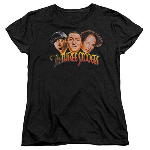 The Three Stooges The Three Head Logo Womens Short Sleeve Shirt