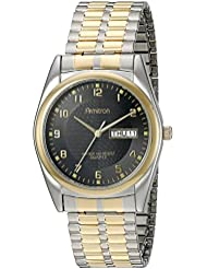 Armitron Mens 201143 Round Easy to Read Black Dial Two-Tone Expansion Band Watch
