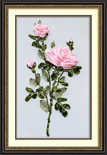 Wandafull Ribbon embroidery Kit Handmade Red Rose (No frame)