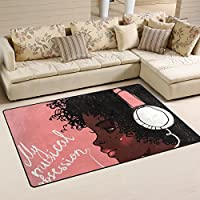 LORVIES Cute African Girls Profile Area Rug Carpet Non-Slip Floor Mat Doormats for Living Room Bedroom 60 x 39 inches