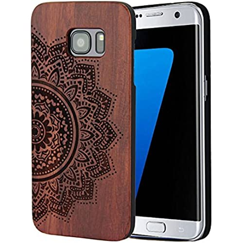 Galaxy S7 Edge Case,Galaxy S7 Edge Wooden Case YFWOOD Sunflower[Laser Mark] Rosewood with Plastic Slim Covering Sales