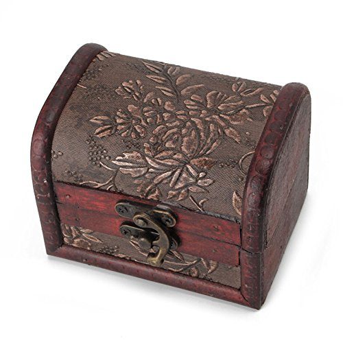 Stebcece Vintage Wood Jewellery Necklace Storage Box Case Holder Treasure Chest Organizer