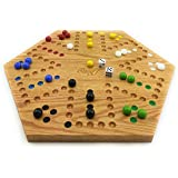 Solid Oak Double Sided Aggravation Marble Board Game Hand Painted 20 inch