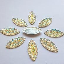 11x23mm Crystal Clear AB All Star Rhinestones Flat Back Sew On Resin Horse Eye Gems Fancy Strass Stones For Clothing Dress Craft 60PCS 2 Holes (AB)