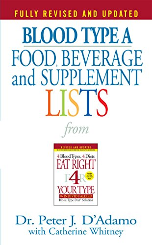 Blood Type A: Food, Beverage and Supplemental Lists