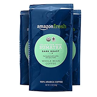 AmazonFresh Organic Fair Trade Sumatra Whole Bean Coffee, Dark Roast, 12 Ounce (Pack of 3)