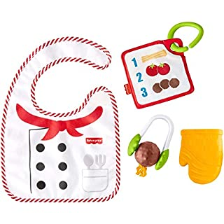 Fisher-Price Cutest Chef Gift Set, 4 cooking-themed baby toys with wearable bib and teether for babies ages 3 months and older