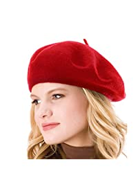 Womens Solid Color 100% Wool French Beanie Cap Hat (Red)