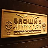 """wpa0220 Name Personalized Hunting Cabin Man Cave Wood Engraved Wooden Sign - Standard 23"""" x 9.25"""""""