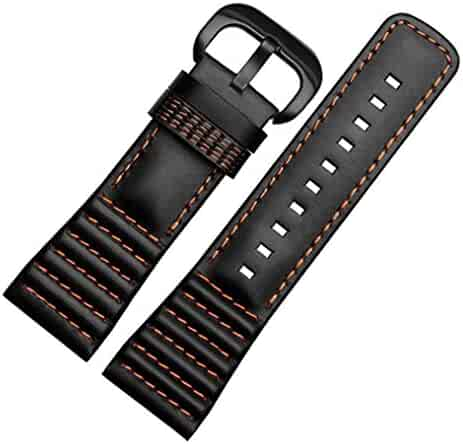28mm Black Leather Watch Strap Band Buckle for SevenFriday P1 P2 P3 Watches (Orange) Black Buckle