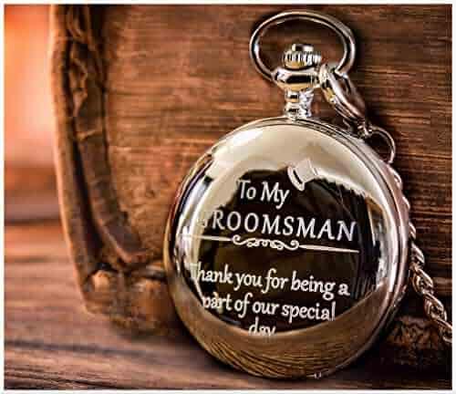 Groomsman Gifts for Wedding – Engraved Groomsman Pocket Watch for Groomsmen Gift