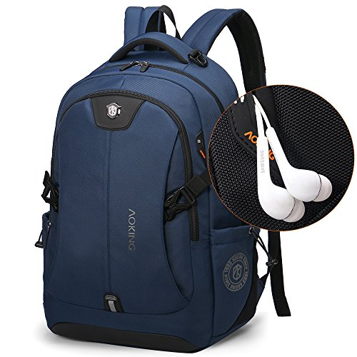 aoking Fashion Three Size Three Colors Backpack with laptop compartment Men Big Cool Backpack Knapsack (Large, Navy (Blue / Navy Laptop Backpacks)
