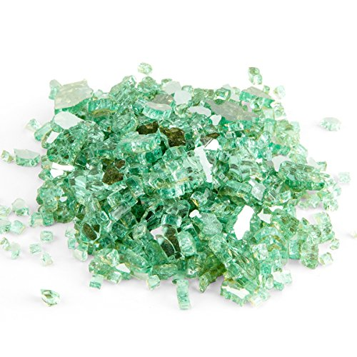 Reflective Fire Glass for Fire Pit and Fireplace, 10 Pound, 1/4-inch, Green
