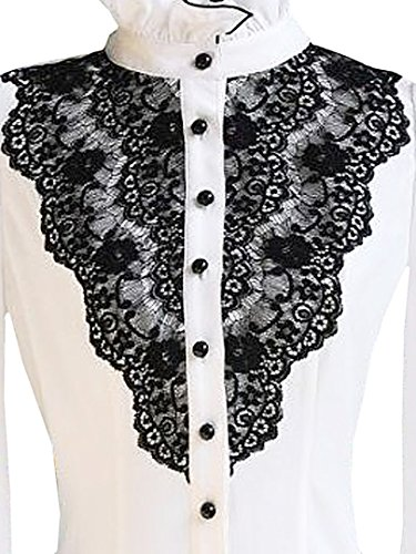 1e3f338ceca Choies Women's Vintage White with Black Lace Stand-Up Collar Puff Long  Sleeve Shirt at Amazon Women's Clothing store: