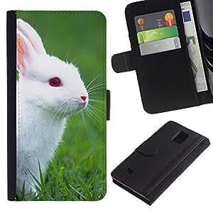 """Samsung Galaxy Note 4 IV / SM-N910 , la tarjeta de Crédito Slots PU Funda de cuero Monedero caso cubierta de piel ("""" Rabbit Cute White Blue Eyes Grass Nature"""")"""