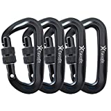 Favofit Ultra Sturdy Locking Carabiner Clips, 12KN (2697 lbs Each) Heavy Duty Caribeaners for Camping, Hiking, Outdoor & Gym etc, Small Carabiners for Dog Leash & Harness, Not for Climbing