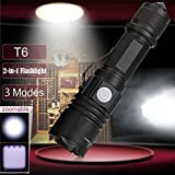 Dressffe New 3 Modes XM-L T6 LED Zoomable 2-in-1 Flashlight Torch 18650 Battery,USB Charging Interface, Easy to Use