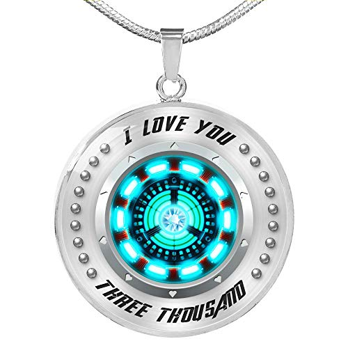 Fa Gifts Iron Man Necklace, Arc Reactor Pendant Necklace, I Love You Three Thousand 3000 Circle Necklace, Iron Man Arc Reactor - Luxury Necklace Silver - Includes Gift Box! ()