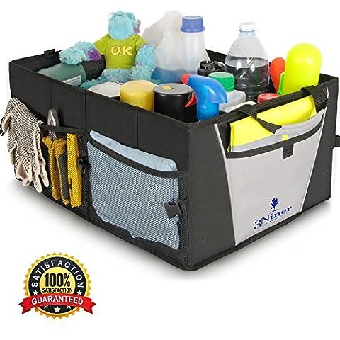Car Trunk Organizer by 3Niner. Premium Quality. Universal Fit. Free Bonus Glove Box Organizer. Durable Collapsible Cargo Storage for Auto, truck, SUV. Non-Slip tote, Portable Caddy. WATERPROOF. (Sub Cargo Organizer)