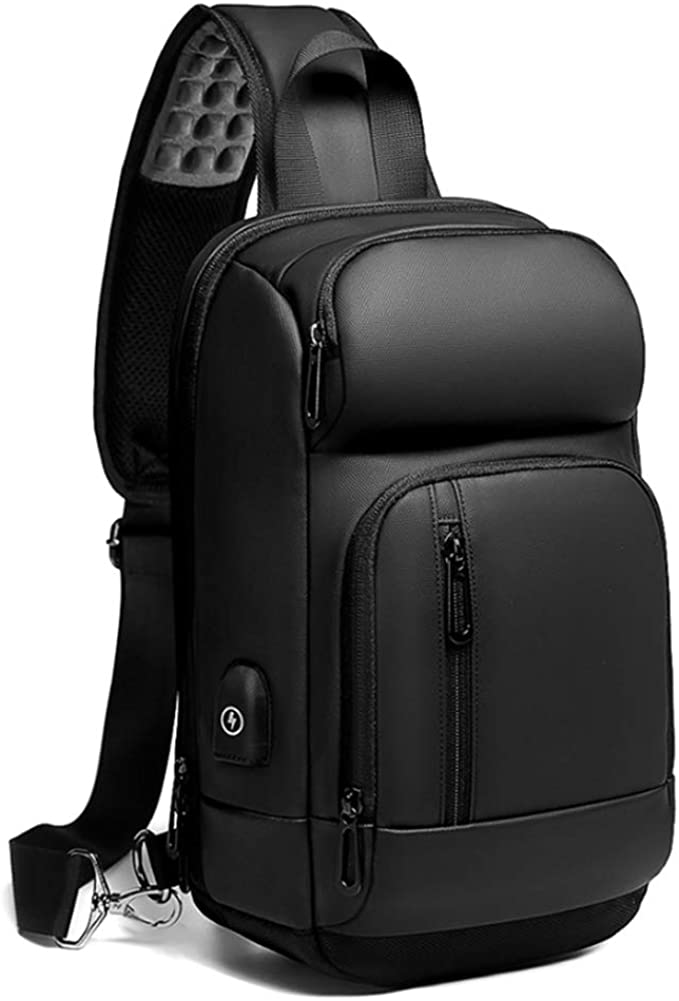 Sling Backpack for Men Cross Body Shoulder Bag with USB Waterproof Lightweight