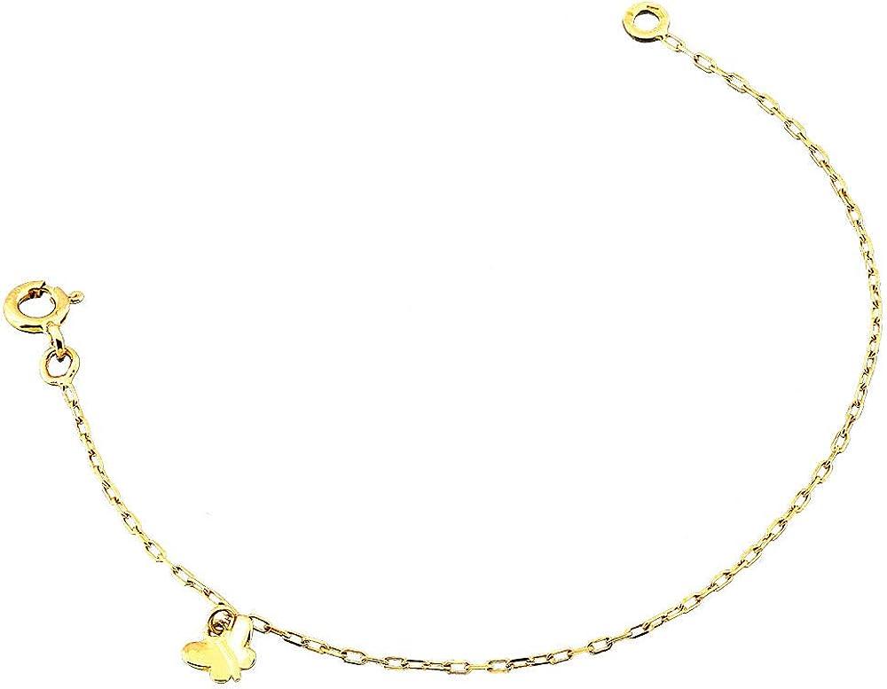 Fabriqu/é en France REF14827BB : Bracelet Enfant Or 18K jaune Orleo Papillon