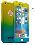 iPhone 6 / 6s 4.7' Case With Tempered Glass Screen Protector, Bastex Full Body Slim Fit Fade Gold to Blue Ultra Thin Light Weight Hard Snap-On Case for Apple iPhone 6 4.7', iPhone 6s 4.7'