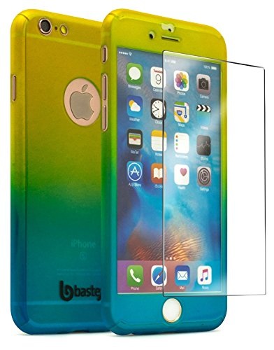iPhone 6 / 6s 4.7 Case With Tempered Glass Screen Protector, Bastex Full Body Slim Fit Fade Gold to Blue Ultra Thin Light Weight Hard Snap-On Case for Apple iPhone 6 4.7, iPhone 6s 4.7