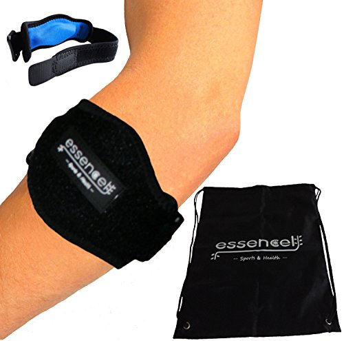 Tennis Golfers Elbow Brace for Tendonitis Treatment, Elbow Strap with Compression Pad, Tennis Elbow Pain Relief Support for man and woman + Drawstring Carrying Bag by Essencell