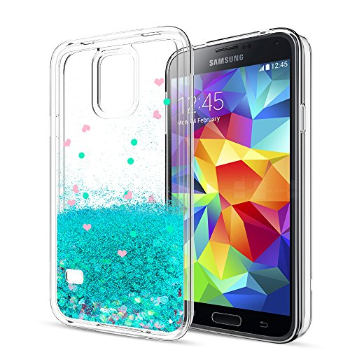 S5 Case,Galaxy S5 Case with HD Screen Protector for Girls Women,LeYi Cute Bling Shiny Glitter Moving Quicksand Liquid Clear TPU Protective Phone Cover Case for Samsung Galaxy S5 ZX Turquoise