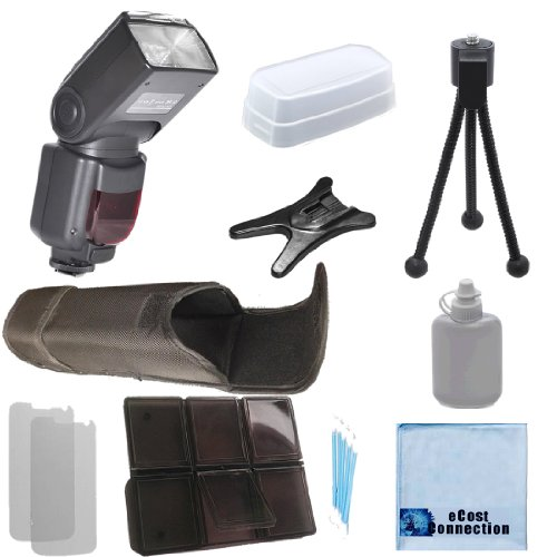Elite Series Digital Auto Power Zoom Auto-Focus Flash w/LCD Display for Canon T1i, T2i, T3, T3i, T4i, T5i, SL1, 30D, 40D, T5 DSLR Camera + Complete Starter Kit