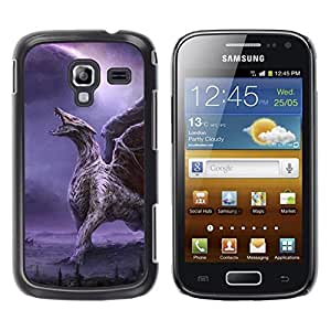 Caucho caso de Shell duro de la cubierta de accesorios de protección BY RAYDREAMMM - Samsung Galaxy Ace 2 I8160 Ace II X S7560M - Dragon Wings Purple Lightning Wings