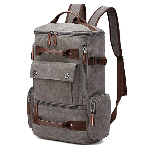 Yousu Travel Backpacks for Men, Fashion Canvas Duffel Backpack Large Capacity Bookbags College School Rucksack Outdoor Casual Daypack (Grey)