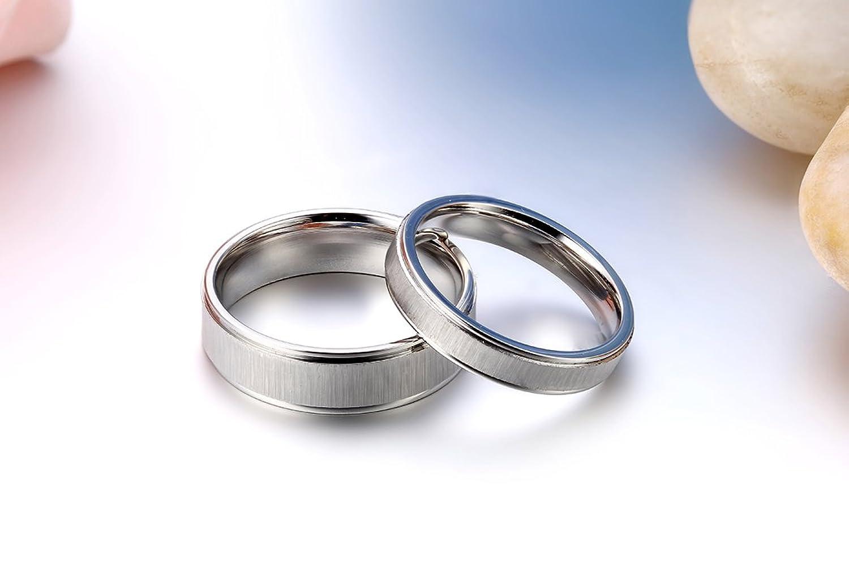 Freundschaftsringe edelstahl matt  JewelryWe Schmuck 1 Paar Edelstahl matt poliert Partnerringe ...