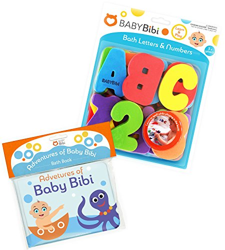 ece Set Stick-On Foam Letters & Numbers + Floating Kids Book for Bathtub by Baby Bibi. Waterproof Educational Toy for Baby or Toddler. Bath Time Learn & Play. ()