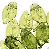 Czech Glass Beads Twisted Olivine Leaf Leaves 10mm (50)