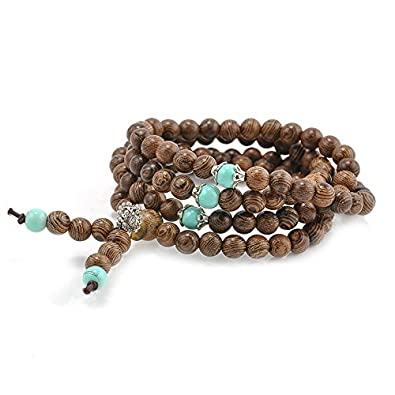 SODIAL(R) NEW 108 Sandalwood Buddhist Buddha Meditation Prayer Bead Mala Bracelet Necklace tCJb8bVA