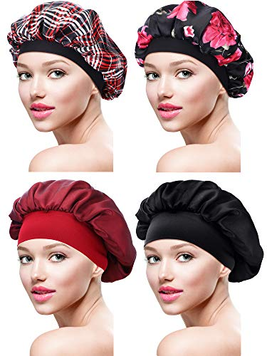 4 Pieces Satin Bonnet Sleeping Cap Soft Night Bonnet Head Cover for Women Girls (Color Set 2)