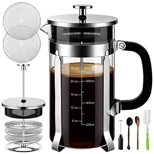Veken French Press Coffee Maker (8 cups, 34 oz), 304 Stainless Steel Coffee Press with 4 Filter Screens, Durable Easy Clean Heat Resistant Borosilicate Glass - 100% BPA Free (Glass French Coffee Press)