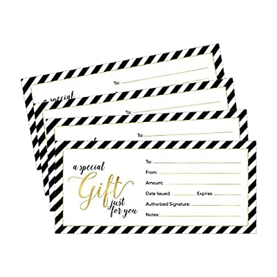 25 4x9 Cute Blank Gift Certificate Cards For Business, Restaurant, Spa, Beauty Makeup Hair Salon, Wedding, Bridal, Baby Shower Print Custom Personalized Bulk Template Kit Forms Printable