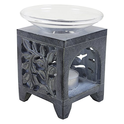 Black Soapstone Aroma Oil Diffuser Burner Floral Design Home Décor Accessories by Store Indya Something Different For Christmas Dinner