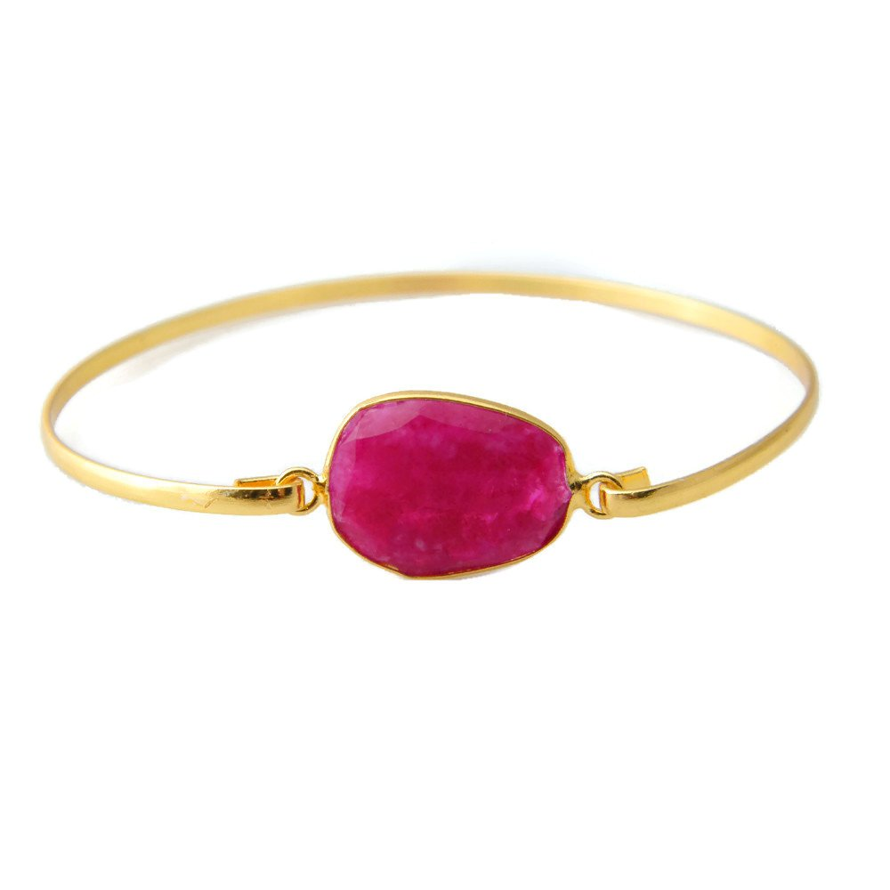 Gold Tone Jewelry Gemstone Bracelet Jewelry AH-8194 Bronze Bracelet Pink Ruby Beryl Bracelet