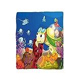 VROSELV Custom Blanket Turtle Funny Cartoon Character Carrying Kids Underwater Coral Reef Octopus Nursery Soft Fleece Throw Blanket Multicolor