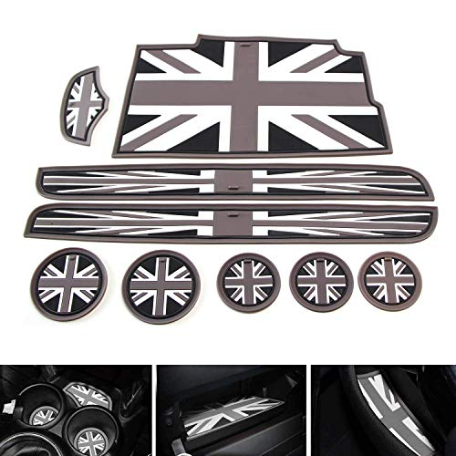 iJDMTOY Union Jack Style Silicone Interior Cabin Mats for 14-up Mini Cooper F56 3-Door, 9-Piece Black/Grey Cupholder Coasters, Side Door Compartment/Glovebox/Center Console Liners